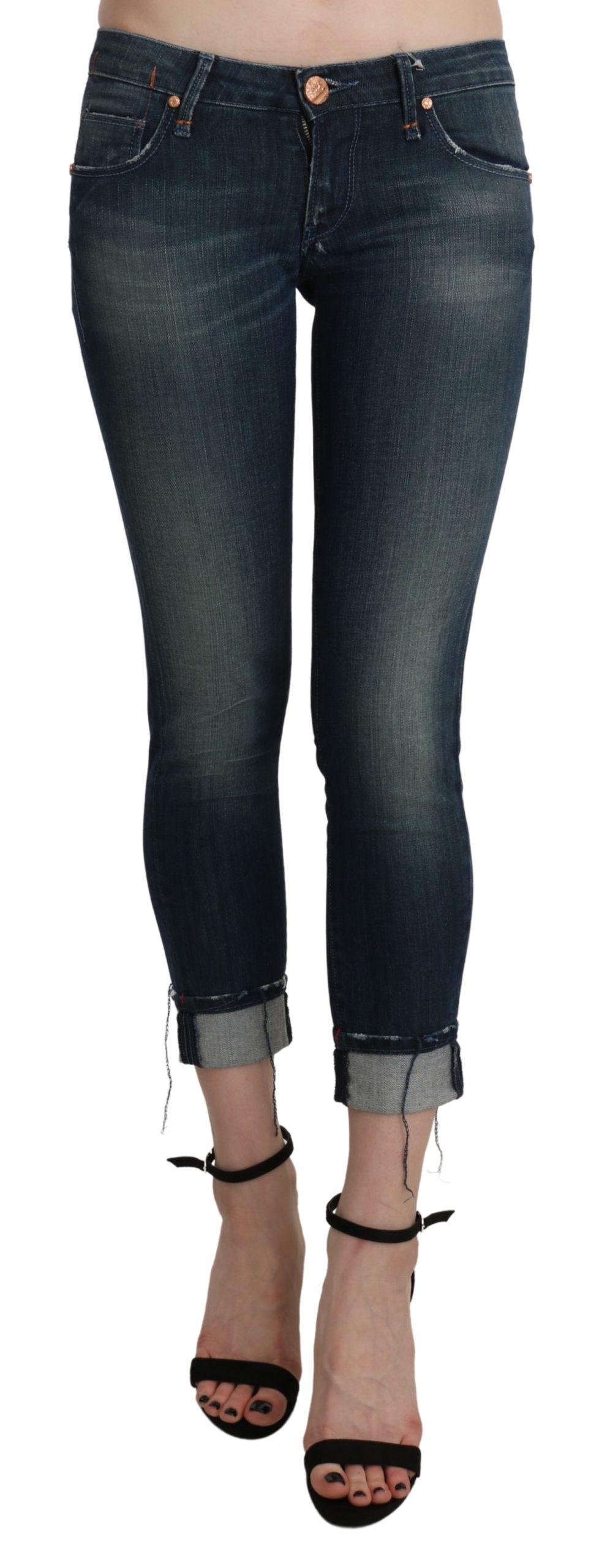 Blue Washed Low Waist Skinny Cropped Denim pant - W26