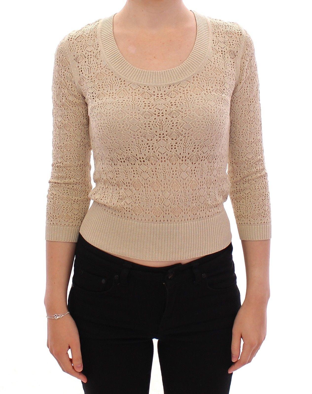 Dolce & Gabbana Women's Knitted Deep Crewneck Sweater Beige MOM11169 - S