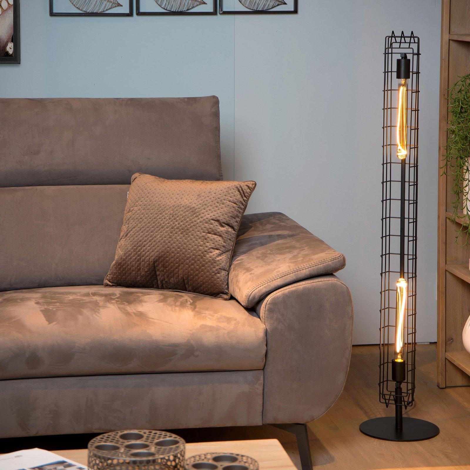 Lattice gulvlampe med metallbur