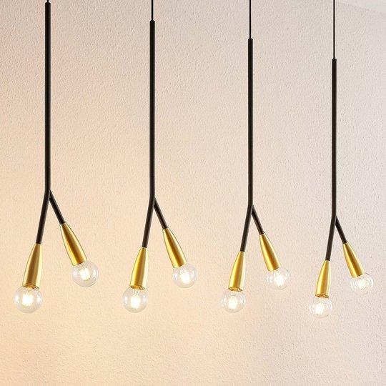 Lucande Carlea -riippuvalo, 8-lamp. musta-messinki