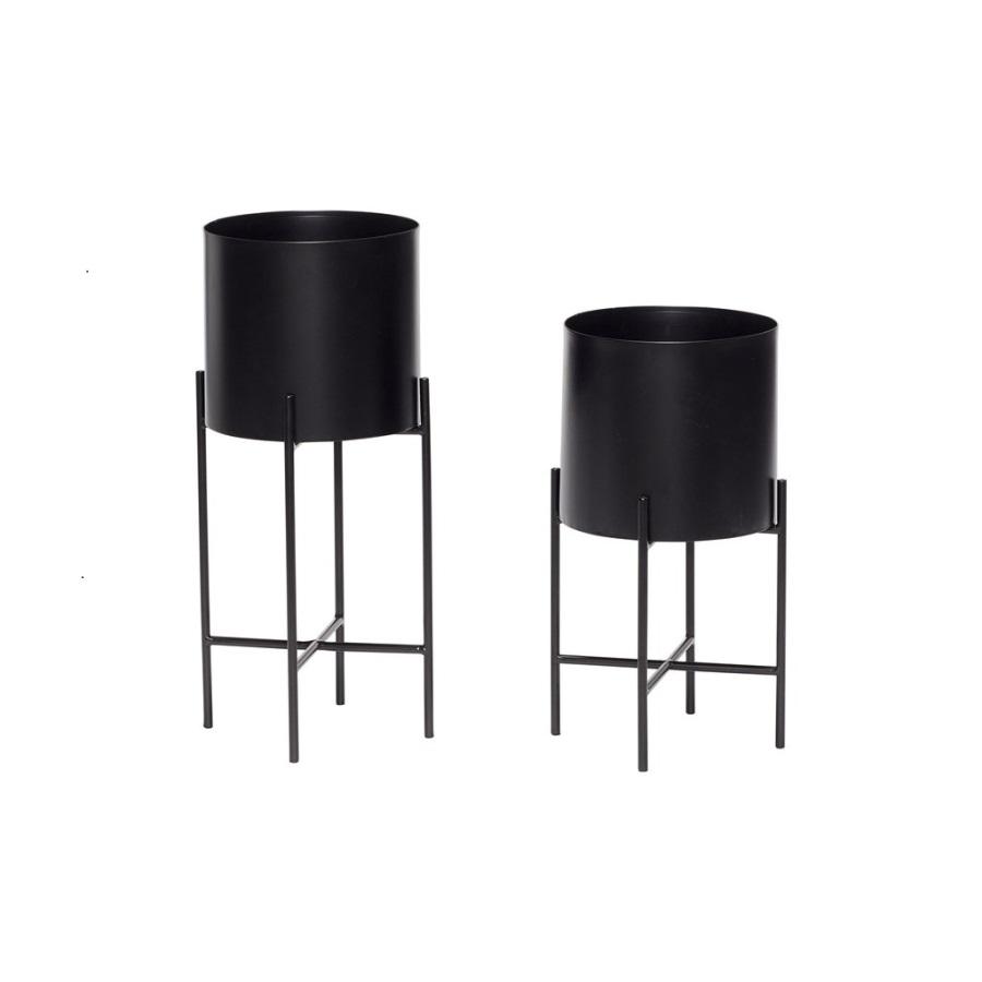 Runda krukor med ben svart metall 2-set, Hubsch
