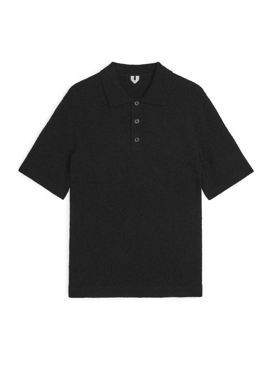 Bouclé Polo Shirt - Black
