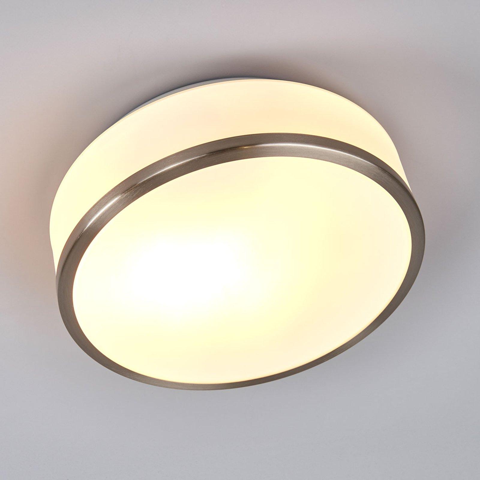 Taklampe Flush IP44, Ø 28 cm, sølv satinert