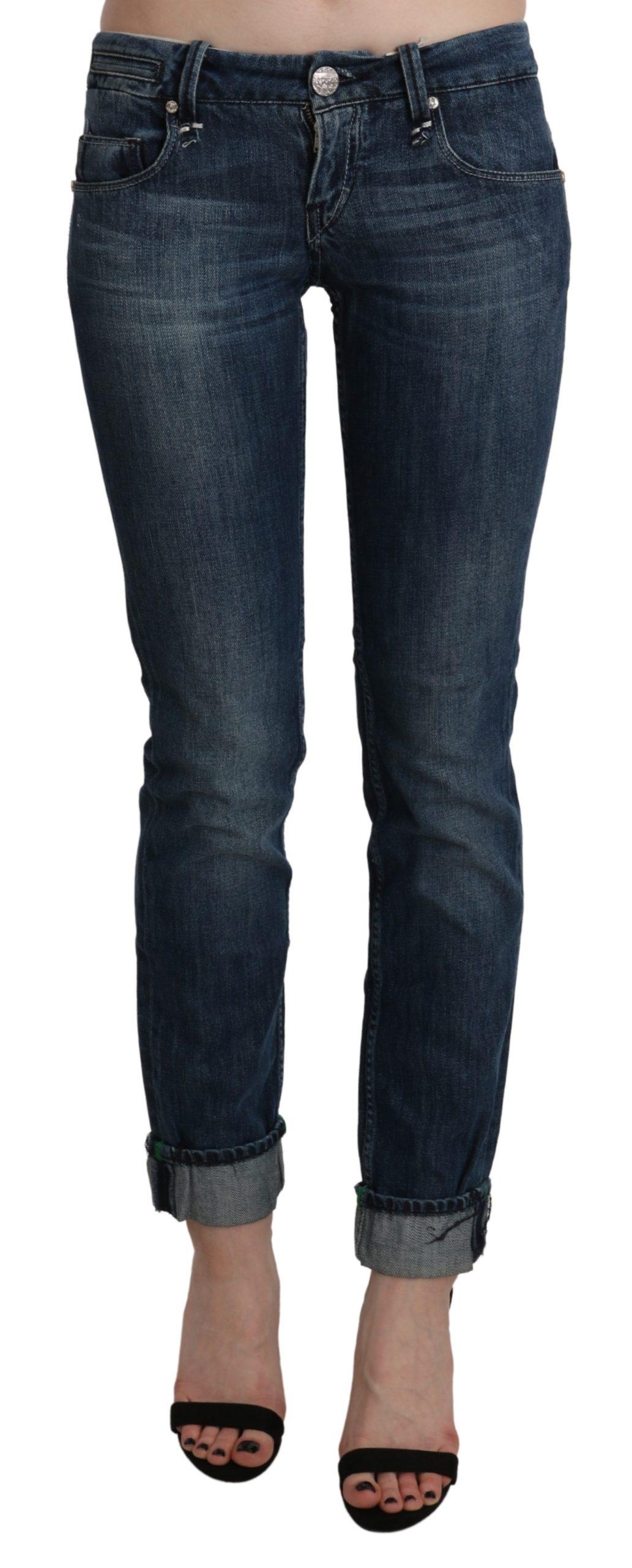 Blue Washed Low Waist Skinny Denim Slim Trouser - W26