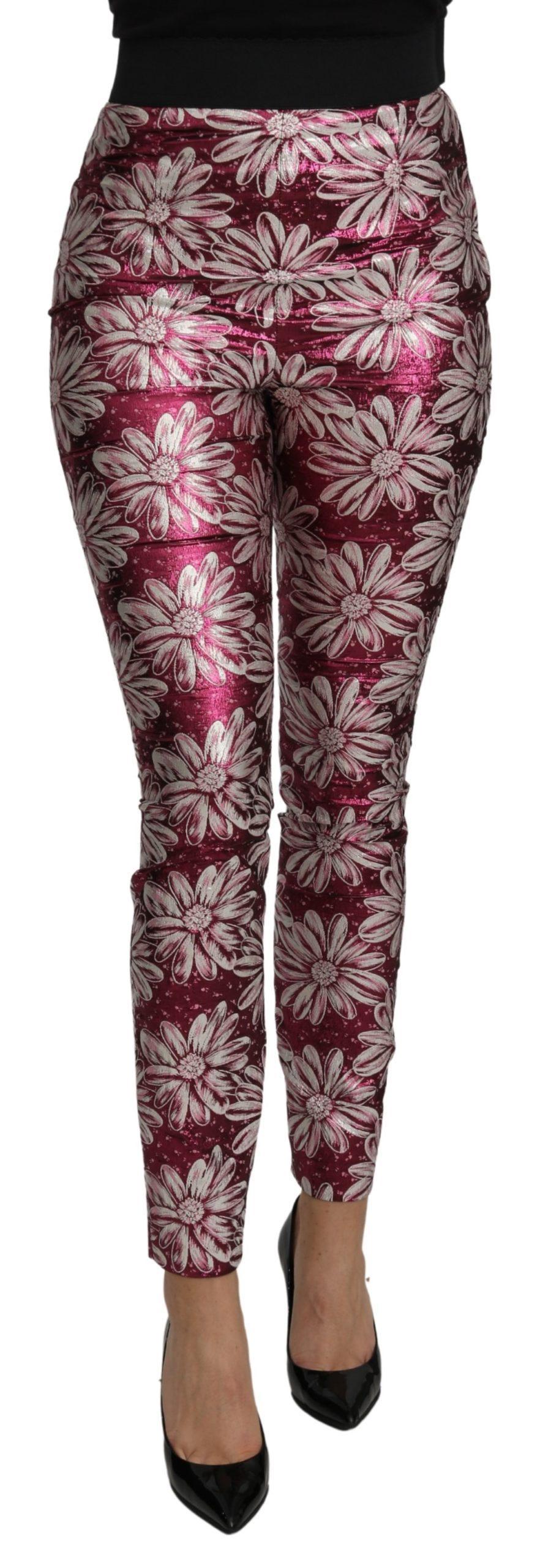 Dolce & Gabbana Women's Floral High Waist Trouser Pink PAN71088 - IT40|S