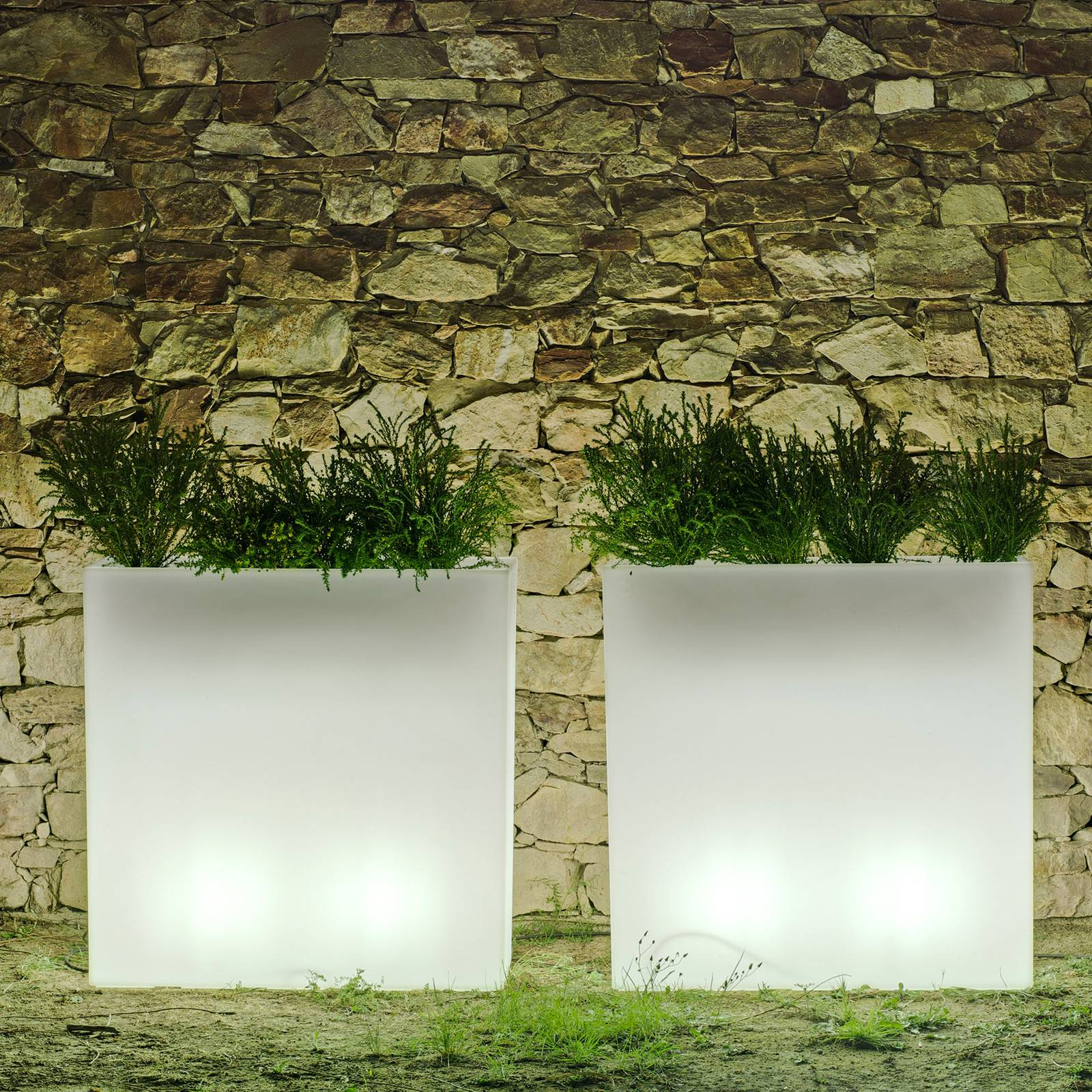 Newgarden Junco LED-kukkalaatikko, kulmikas, akku