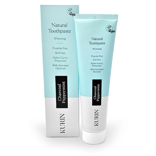 Kurin Natural Charcoal Whitening Toothpaste Fluoride Free - Peppermint, 100 ml