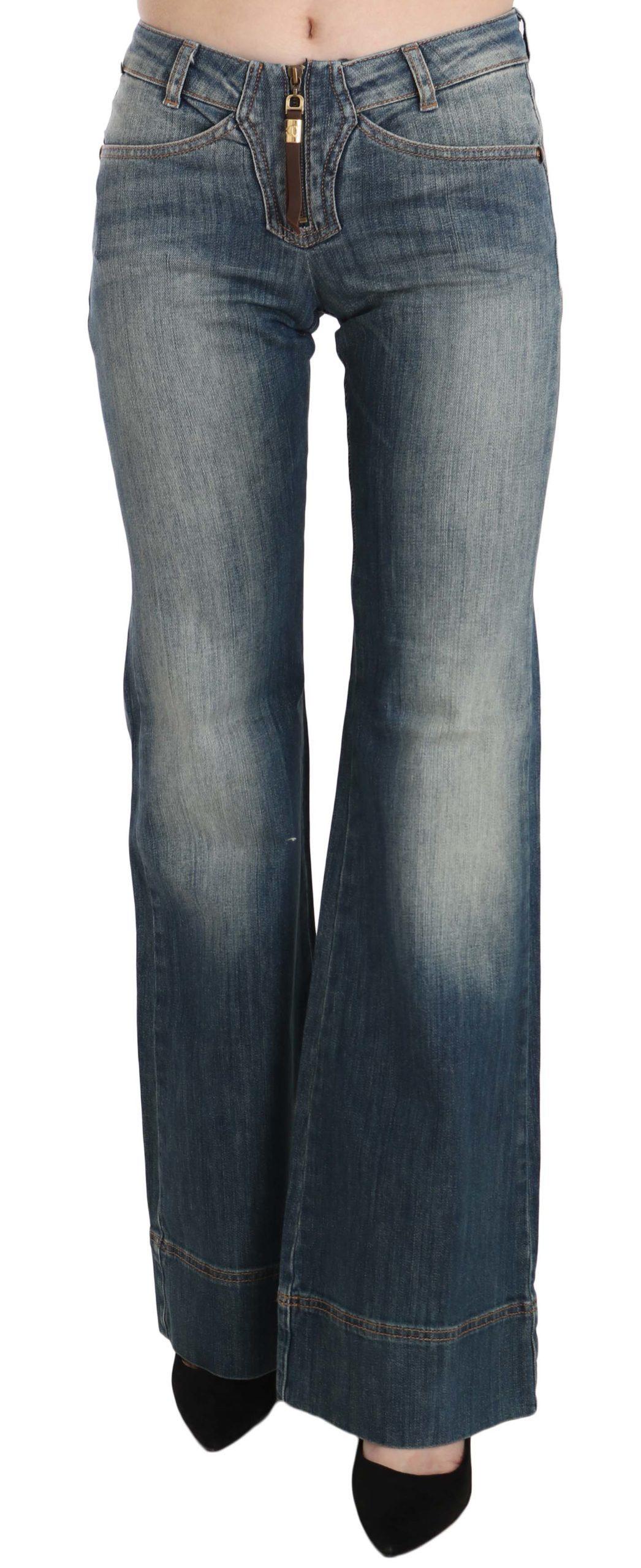 Cavalli Women's Washed Mid Waist Denim Jeans Blue PAN70349 - W24