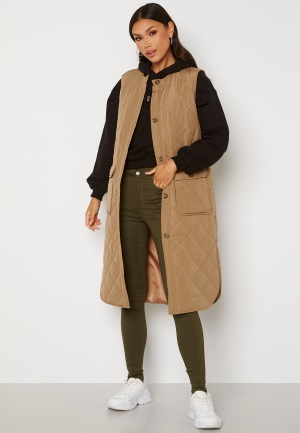 ONLY Nayra S/L Long Quilt Vest Tannin XS