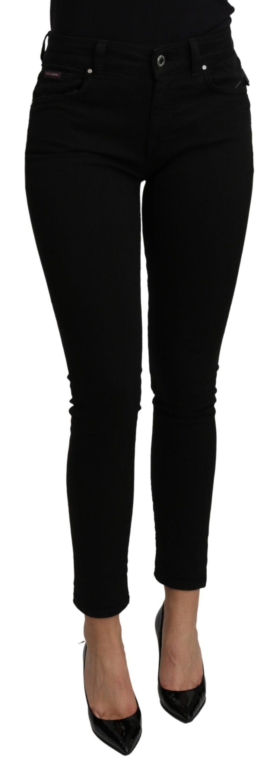 Dolce & Gabbana Women's Mid Waist Slim Fit Cotton Jeans Black PAN71105 - IT38|XS