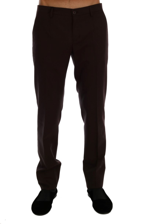 Dolce & Gabbana Men's Wool Stretch Formal Trouser Purple PAN60731 - IT44 | XS