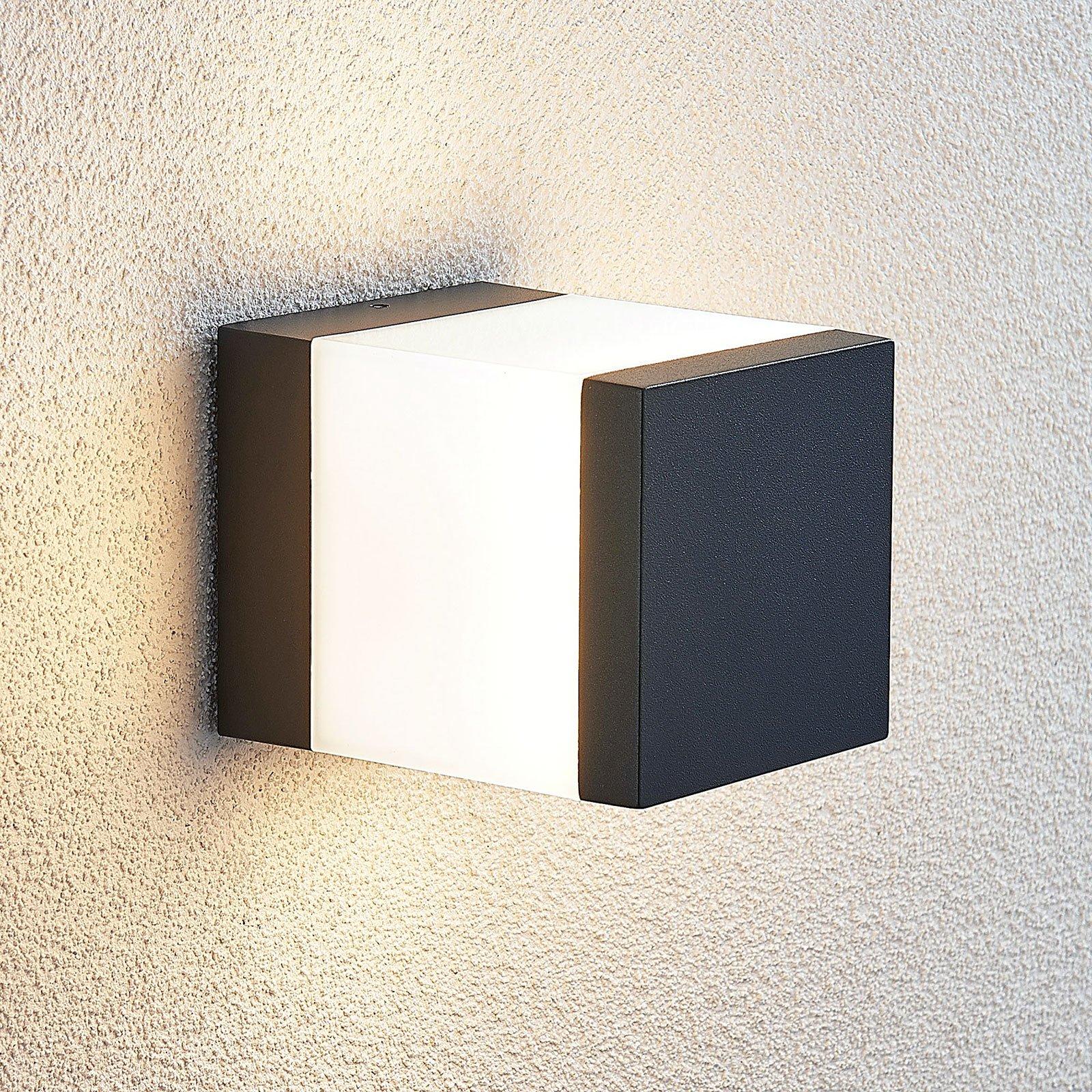 Utendørs LED-vegglampe Litas, kantet, mørkegrå