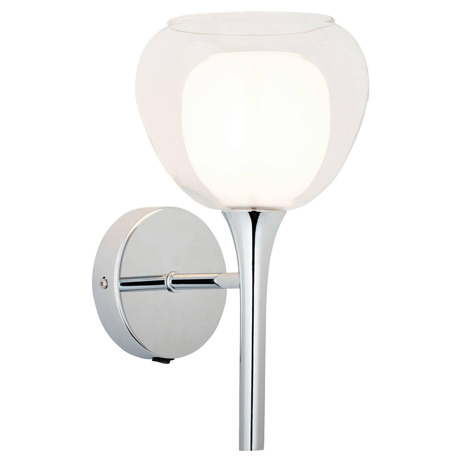 Vegglampe Hadan, glass hvit/gjennomsiktig