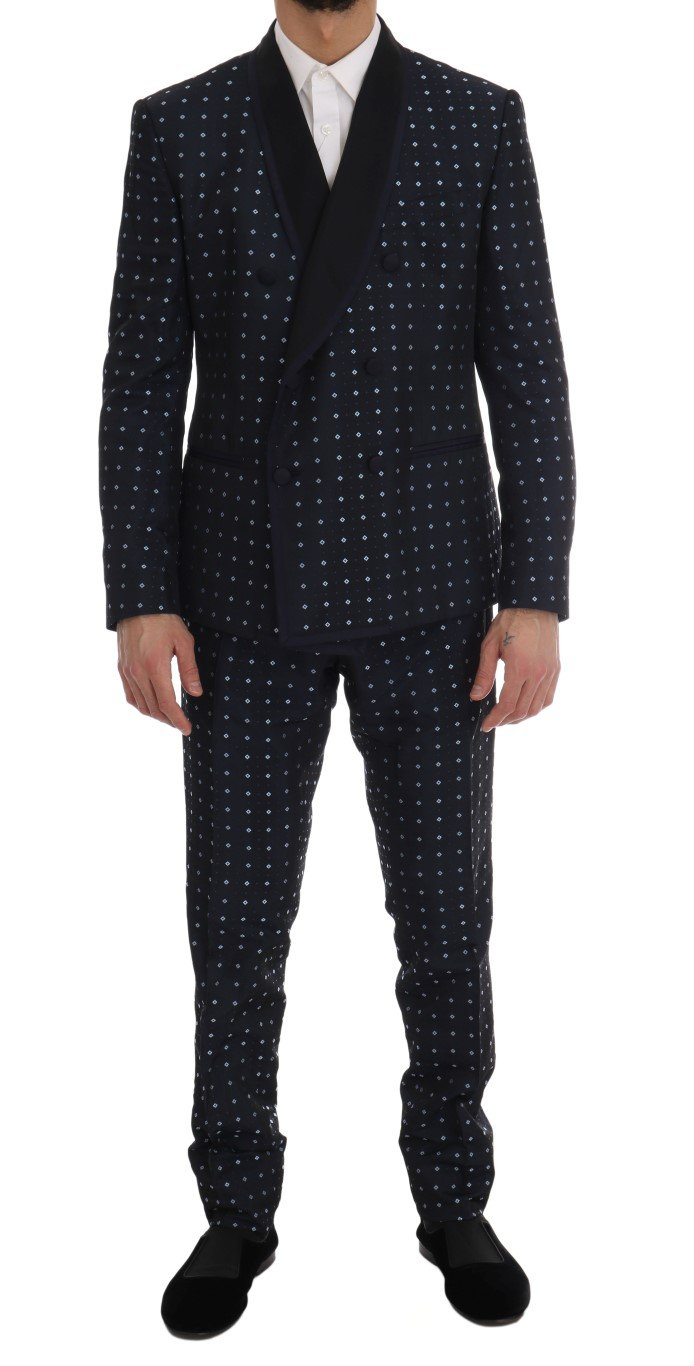 Dolce & Gabbana Men's Silk Double Breasted 3 Piece Suit Blue KOS1172 - IT52 | XL