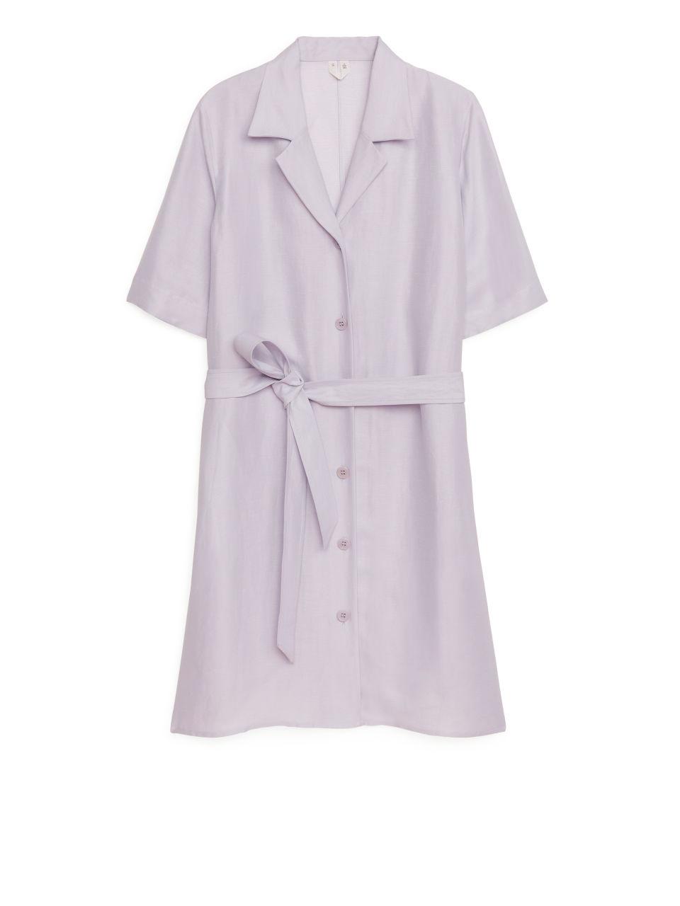 Viscose Linen Resort Dress - Purple