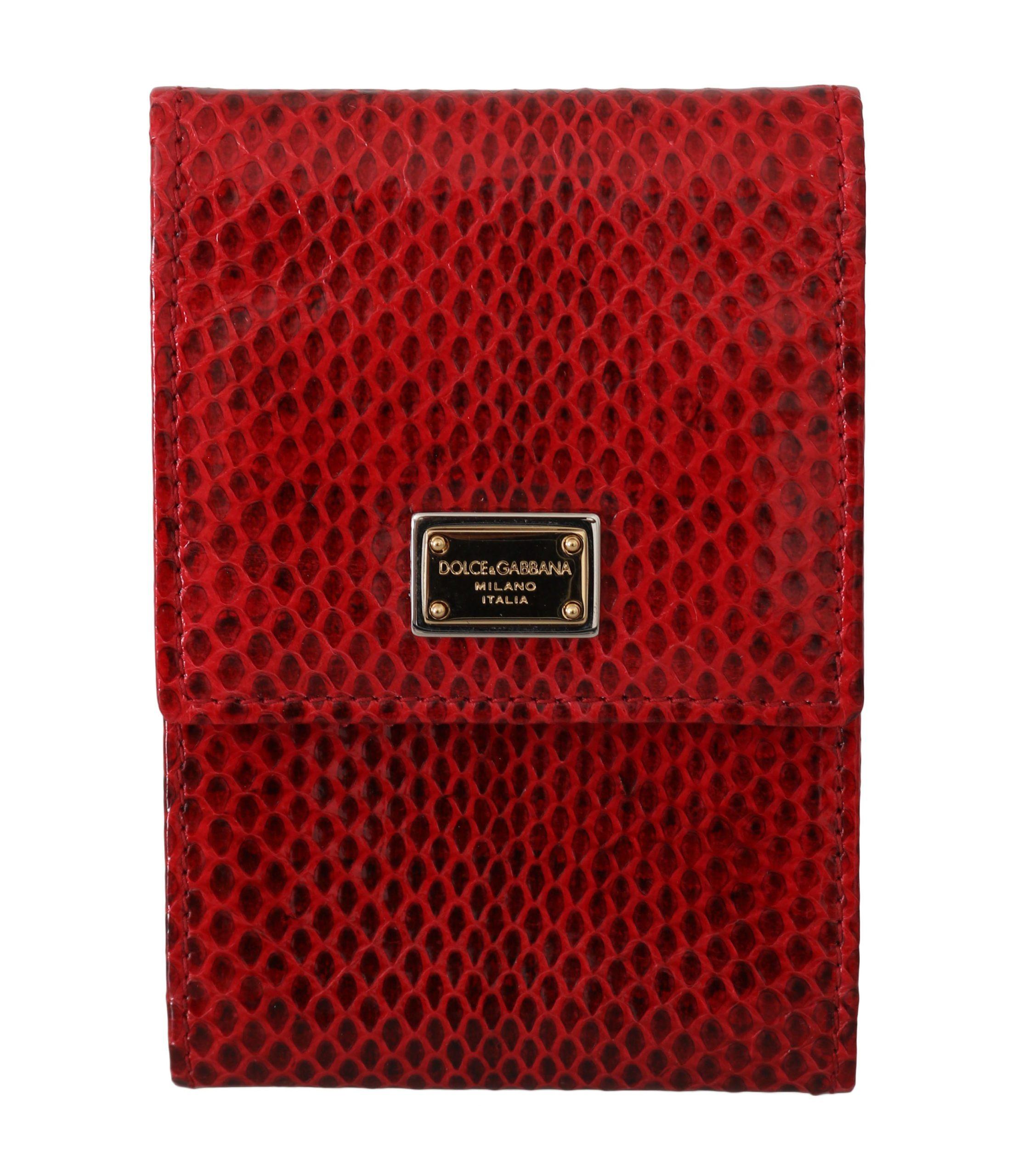 Dolce & Gabbana Women's Snakeskin Hand Purse Phone Holder Leather Wallet Red VAS8850