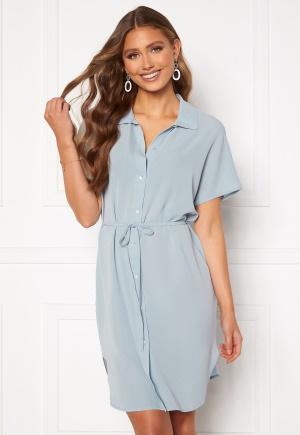 ONLY Nova Lux S/S Shirt Dress Solid Blue Fog 36