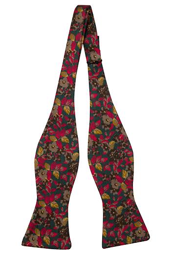 Silke Sløyfer Uknyttede, Grønt med røde og gule blomster, Grønn, Blomstrete