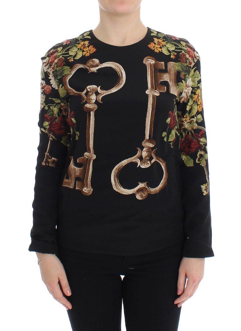 Black Key Floral Print Silk Blouse Top - IT36   XS