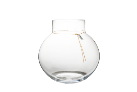 Rund glassvase med lærbånd – 37 cm