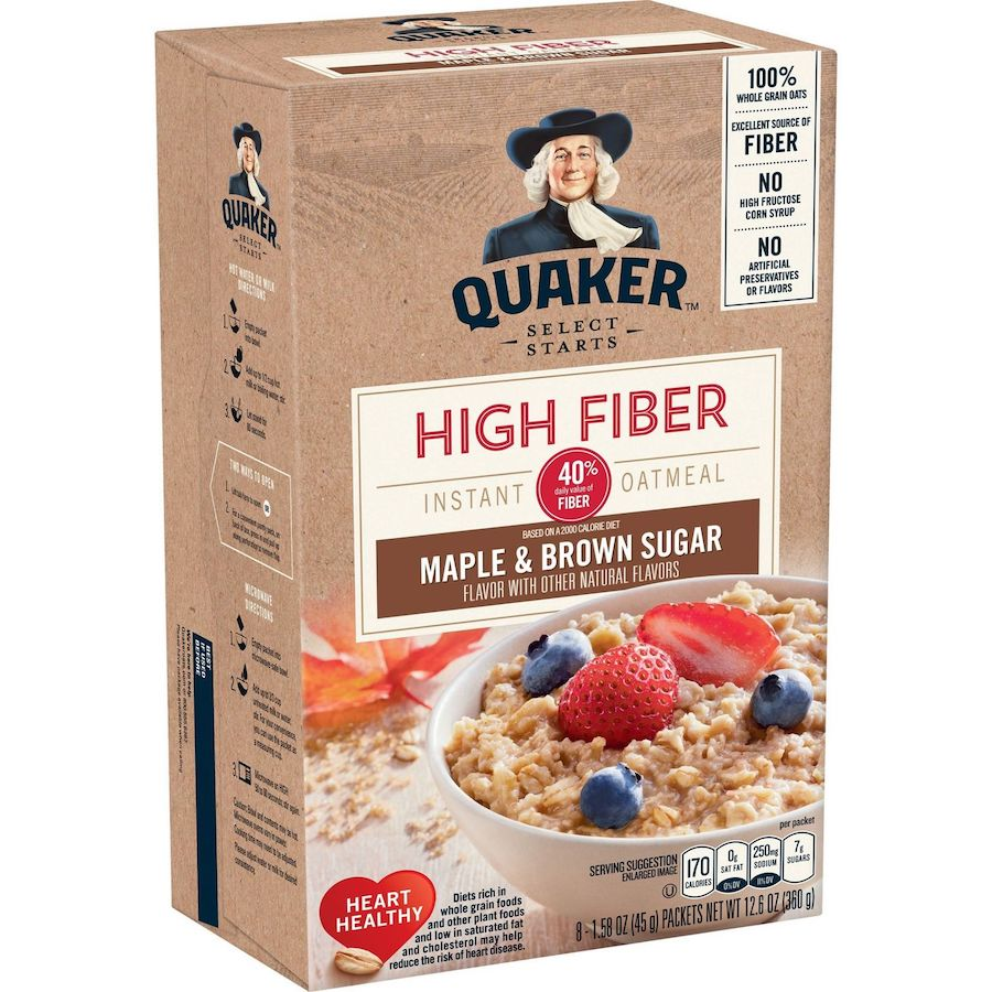 Quaker Instant Oatmeal HIGH Fiber - Maple Brown Sugar 360g