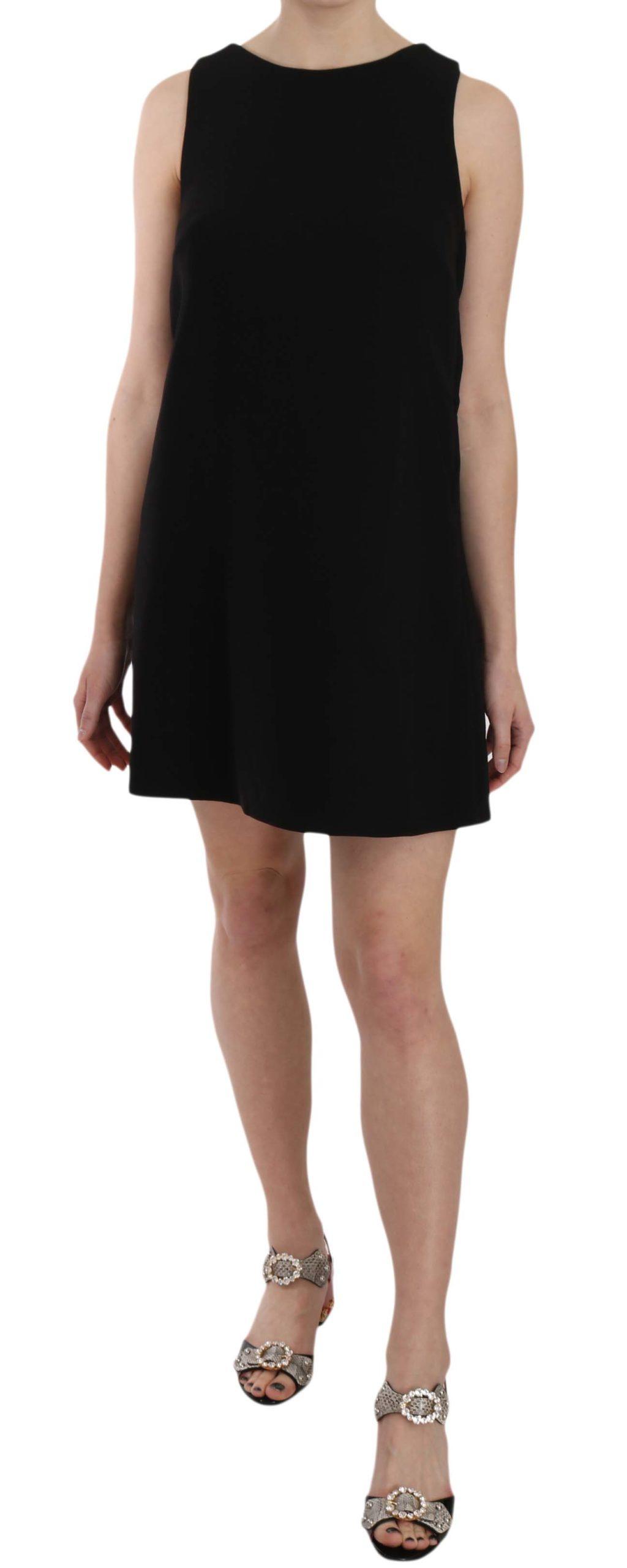 Dolce & Gabbana Women's Wool Crystal Button Shift Dress Black DR1620 - IT38 | S