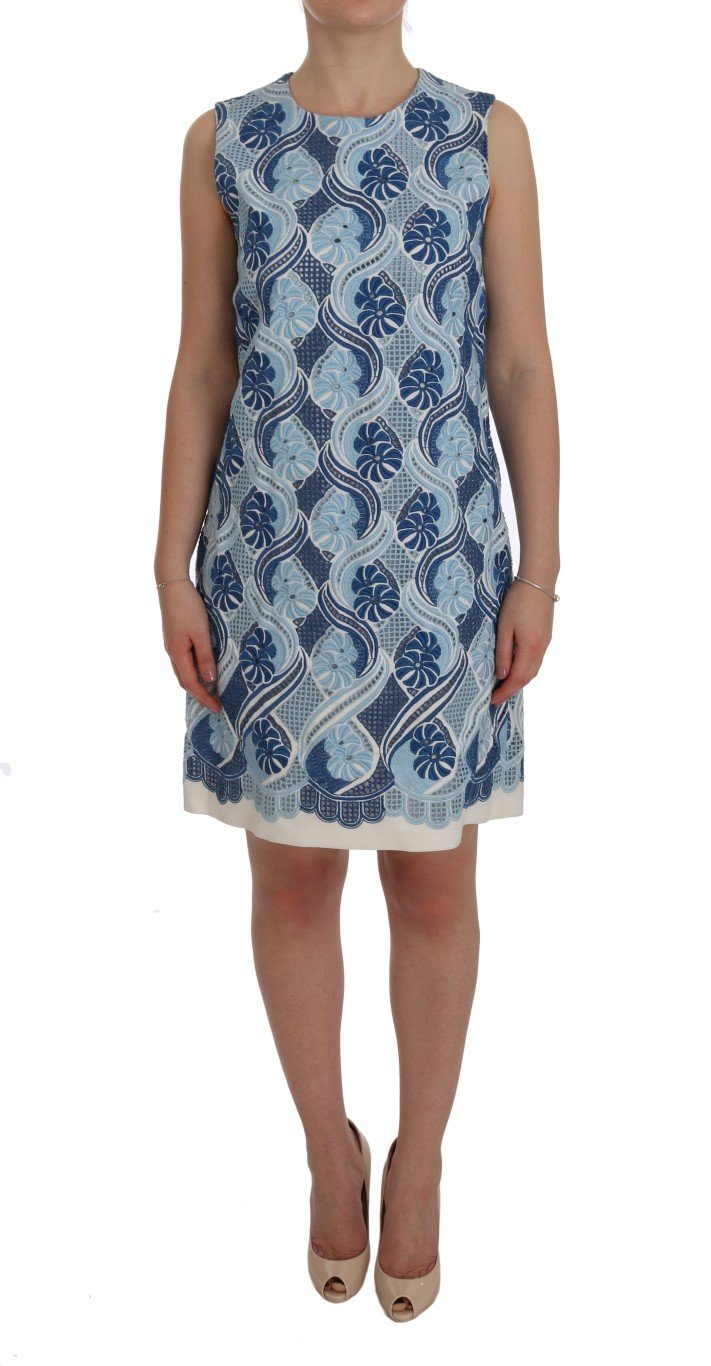 Dolce & Gabbana Women's Floral Ricamo Shift Dress Blue SIG60216 - IT44 L