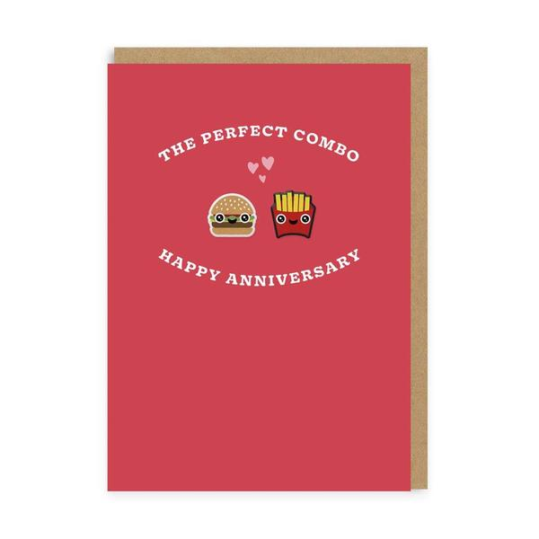 Burger & Fries Perfect Combo Anniversary Woven Patch Card