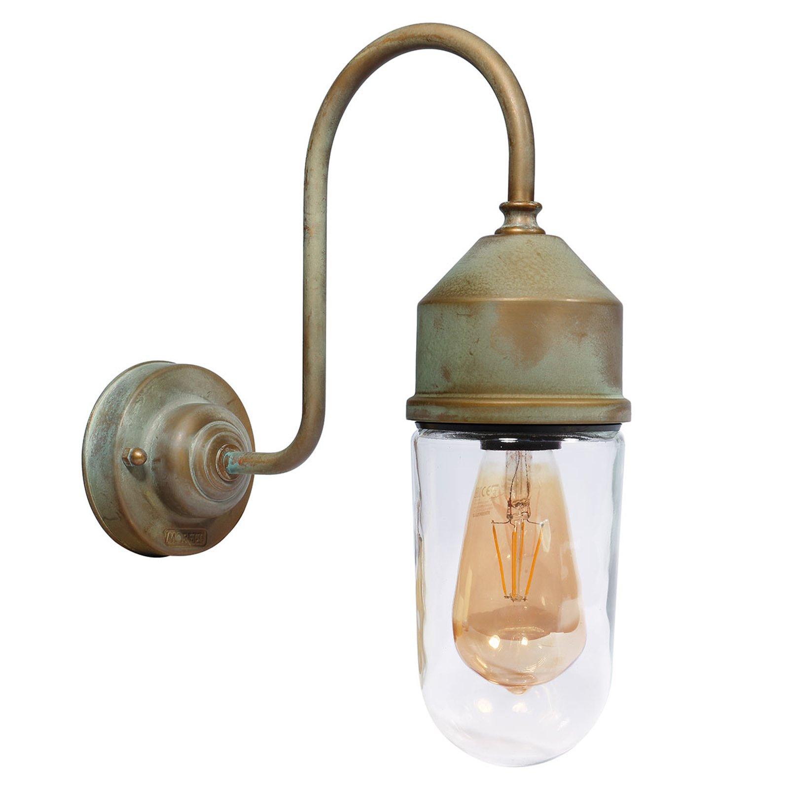 Vegglampe 1950N antikk messing, rett klart glass