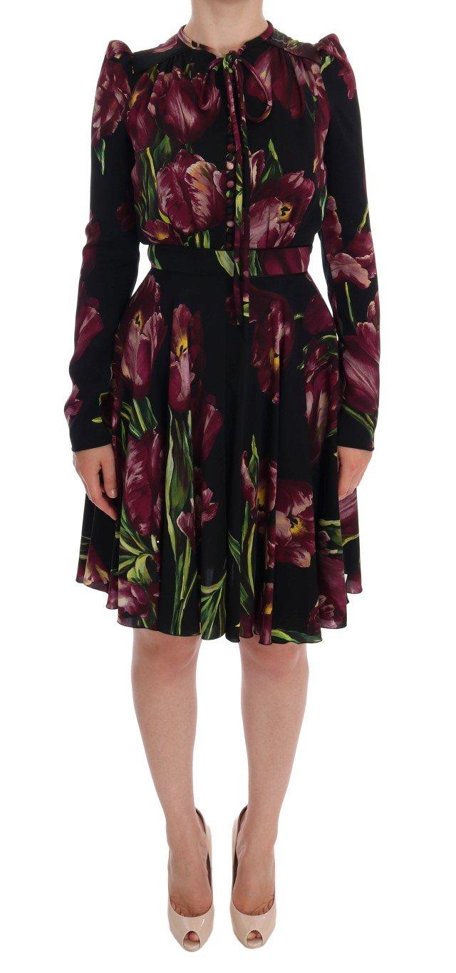 Dolce & Gabbana Women's Silk Stretch Tulip Sheath Dress Black DR1032 - IT36   XS