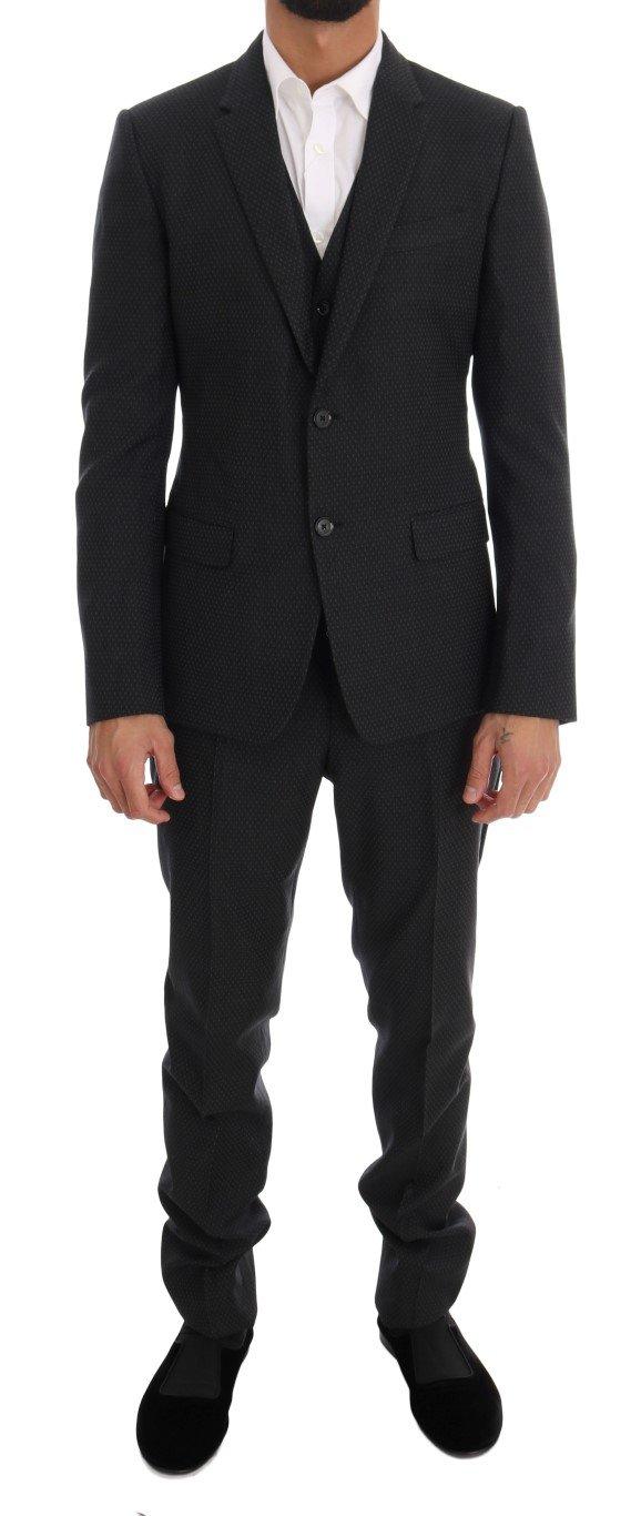 Dolce & Gabbana Men's Patterned Wool 3 Piece Slim Suit Gray KOS1065 - IT48 | M