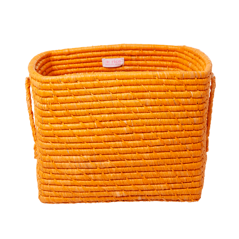 Rice - Small Square Raffia Basket with Handles - Tangerine