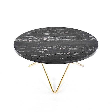 O Table Svart Marmor med Mässingram Ø80