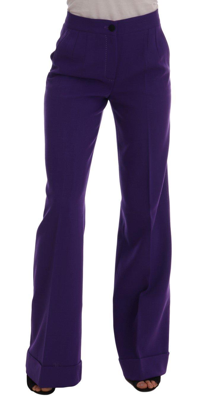 Dolce & Gabbana Women's Wool Flare Trouser Purple BYX1205 - IT40 S