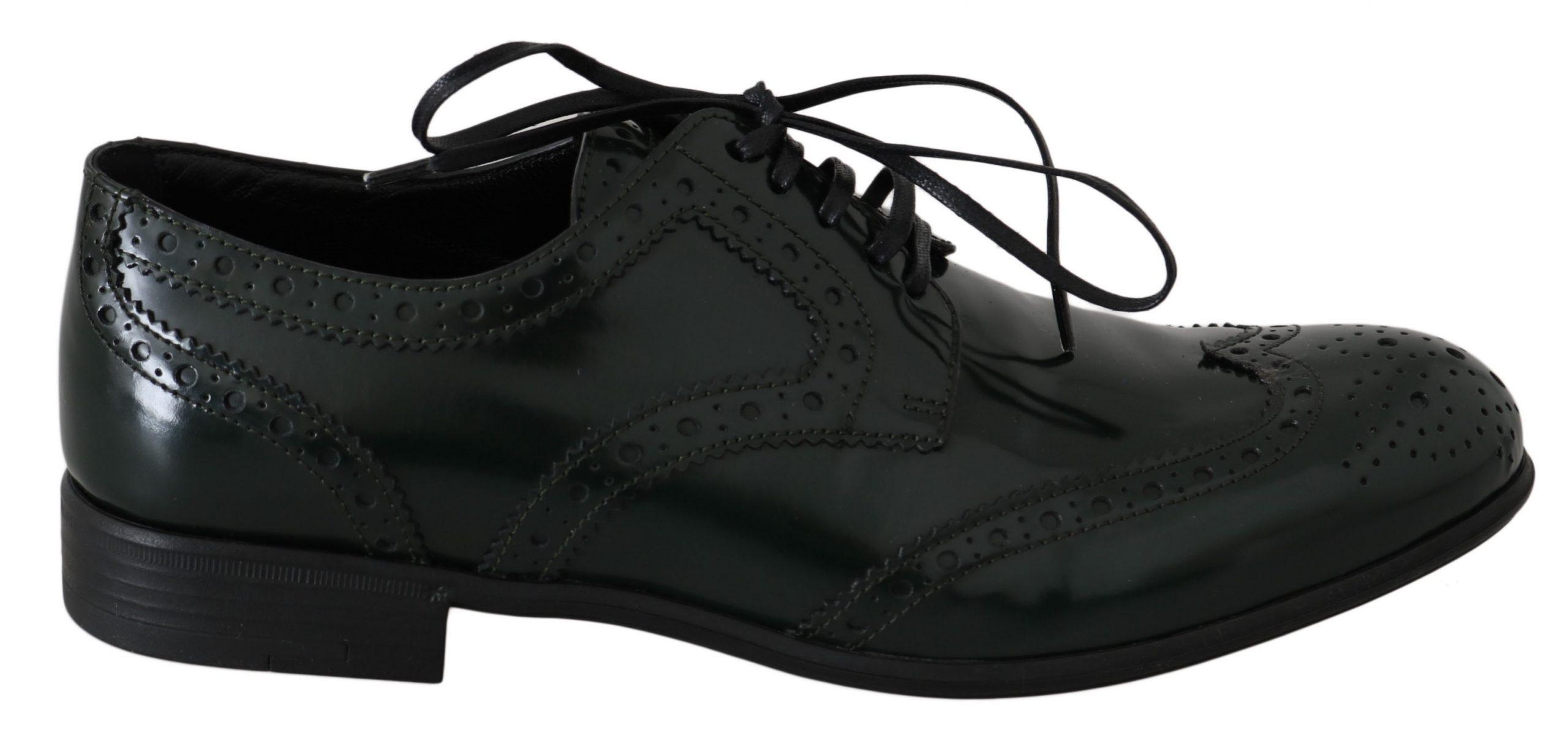 Dolce & Gabbana Men's Leather Wingtip Brogue Shoes Green LA5978 - EU35/US4.5