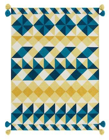Mosaiek kilim ullteppe 170x240 - gul
