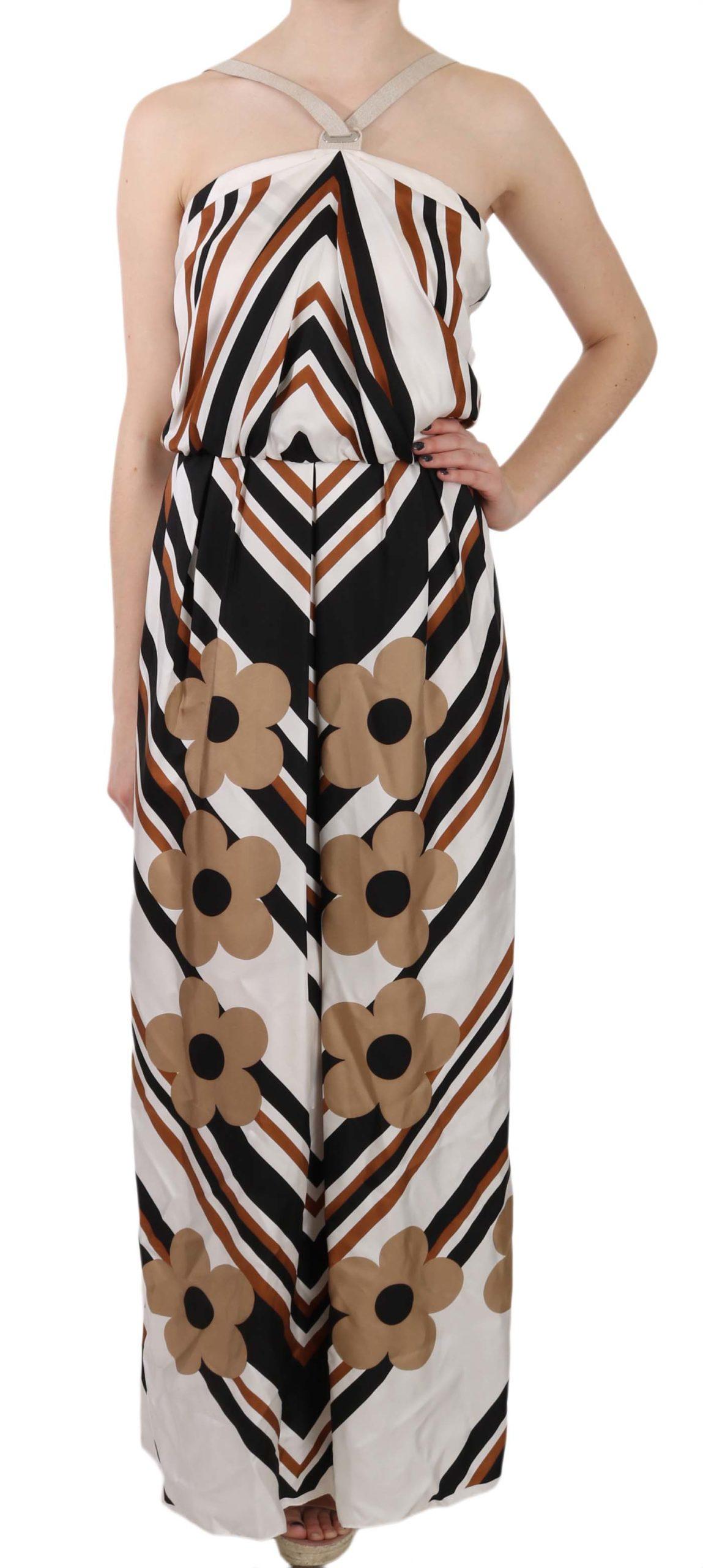 Dolce & Gabbana Women's Striped Silk Gown Dress White DR1686 - IT40 S