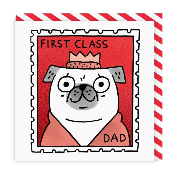 First Class Dad Square Greeting Card