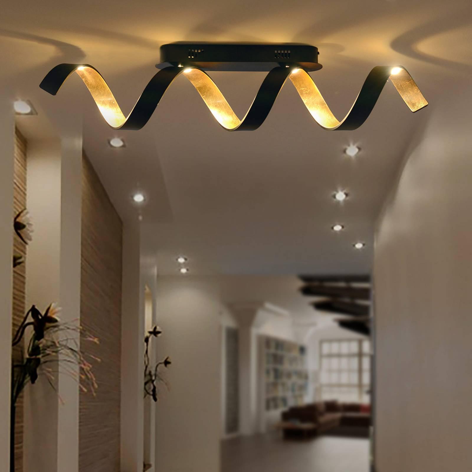 LED-seinävalaisin Helix, musta- kulta
