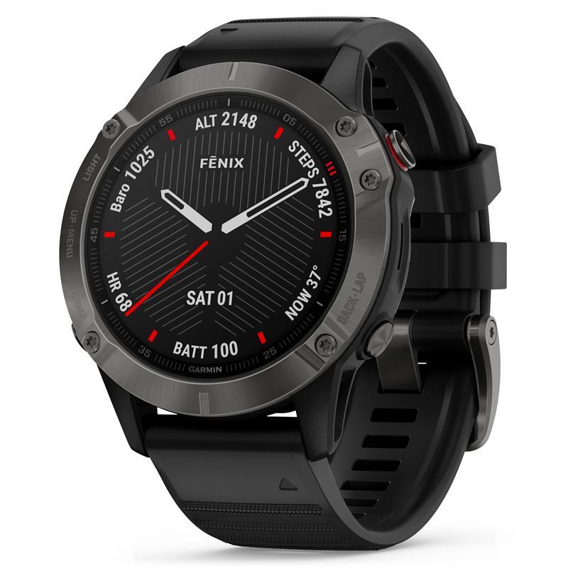 Garmin fenix® 6X – Sapphire Edition 51mm GPS-klokke, Karbongrå DLC med sort rem