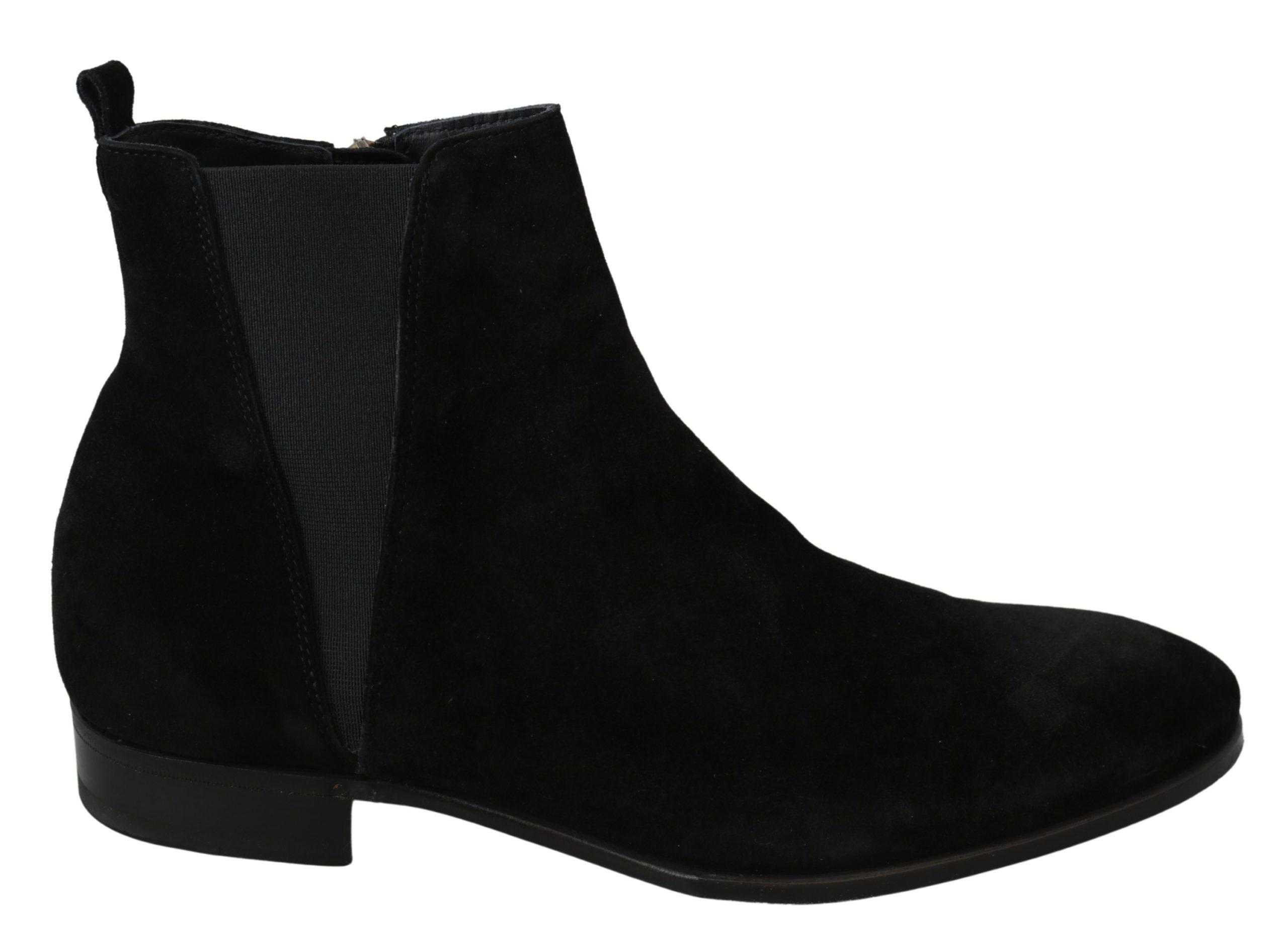 Dolce & Gabbana Men's Suede Leather Chelsea Boot Black MV2895 - EU42/US9