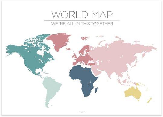 Frank&Poppy Poster World Map, Hvit