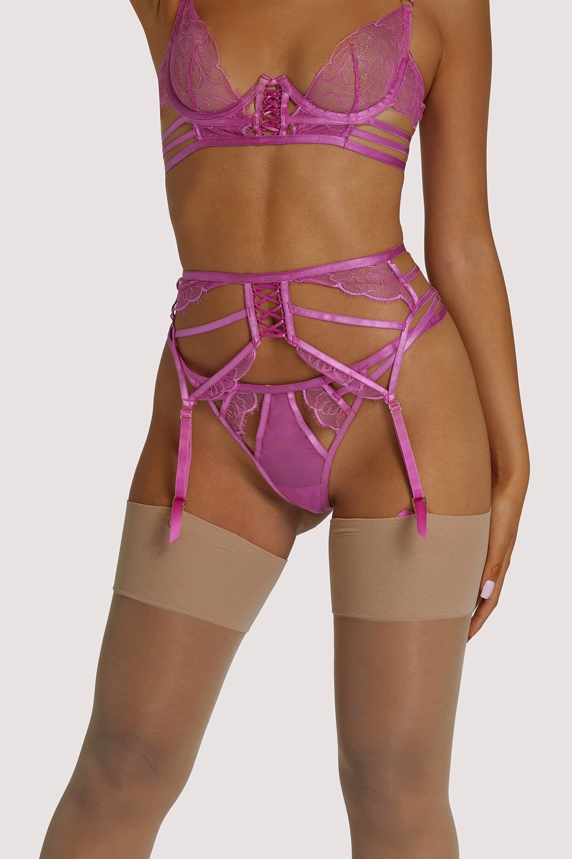 Wolf & Whistle Azma Pink Lace caged suspender UK 10 / US 6