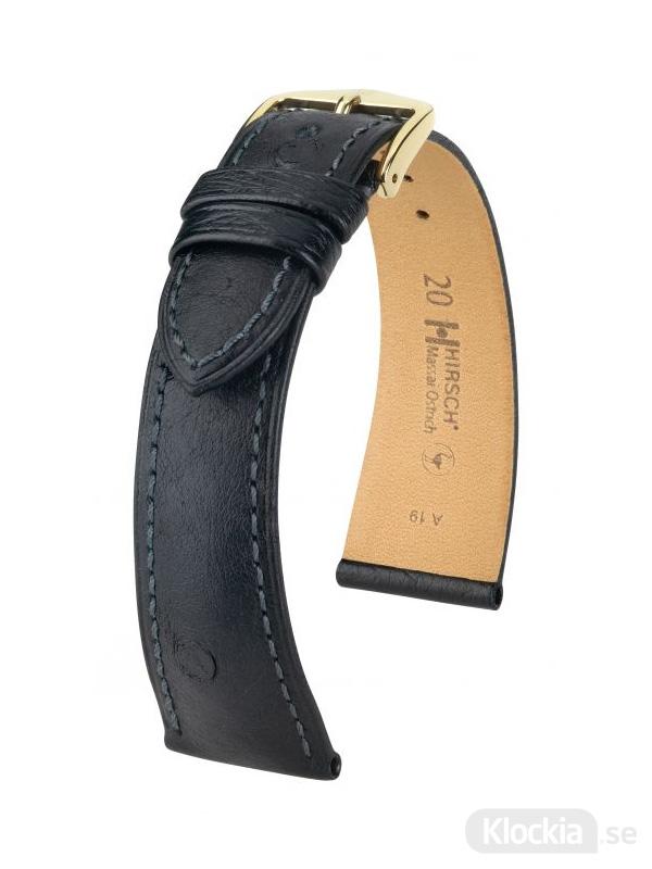 Hirsch Massai Ostrich 18mm Large Svart/Guld 04262050-1-18