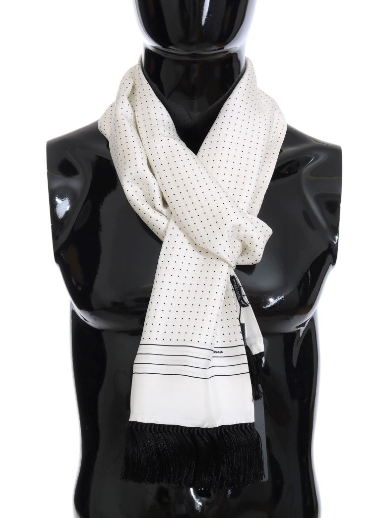 Dolce & Gabbana Men's Silk Polka Dot Scarf Black MS2250