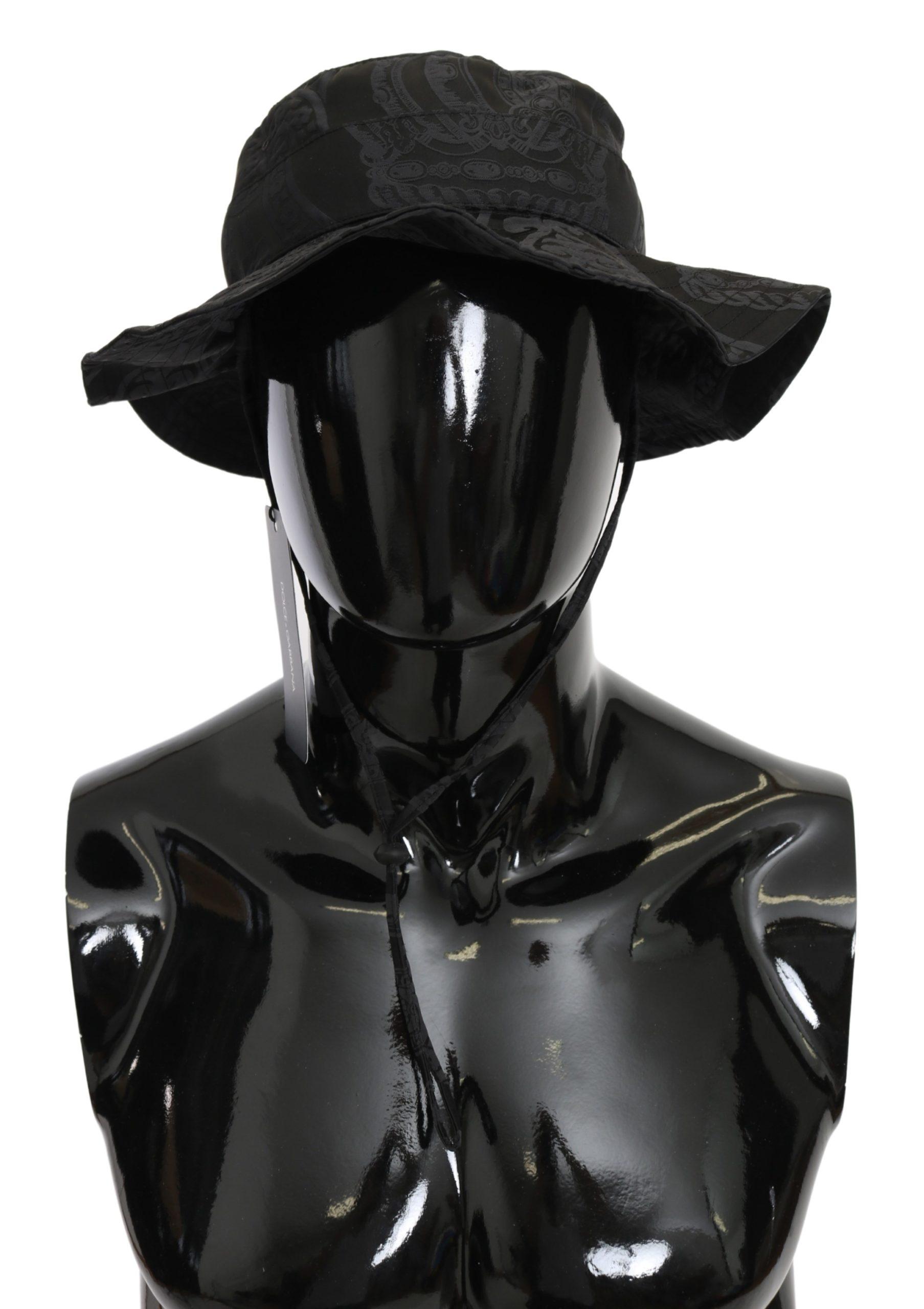 Dolce & Gabbana Men's Logo Pattern Boonie Hat Black HAT9095 - 58 cm|M