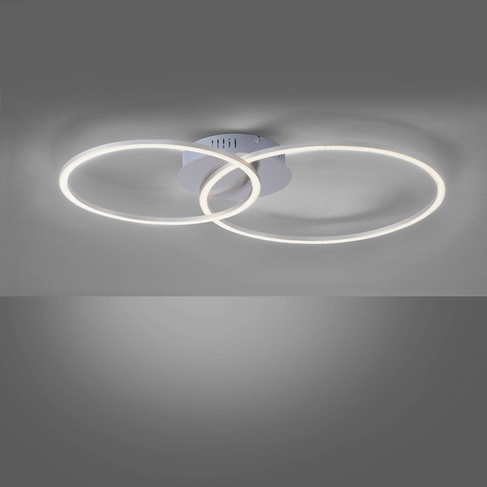 Ivanka LED-taklampe, to ringer, stål