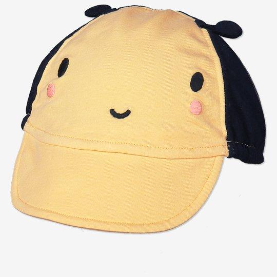 Caps med broderi baby gul