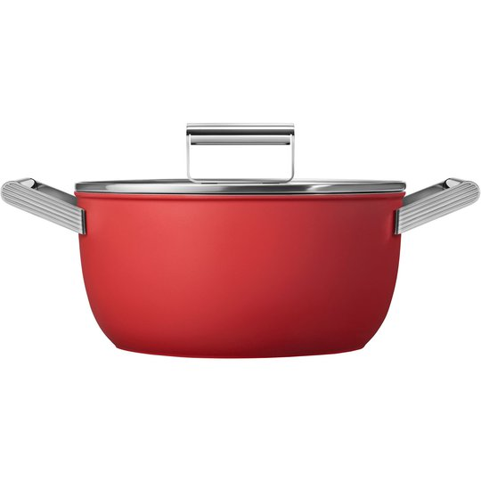 Smeg Kastrull m/lock 24 cm, röd