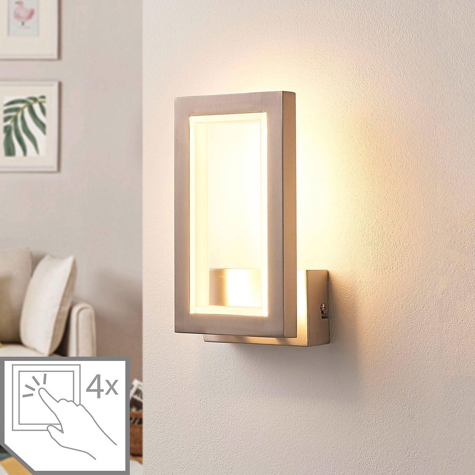 Kantet LED-vegglampe Heriba, matt nikkel